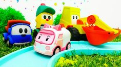 Toys and kids games. Leo the truck and his friends build a road for cars...