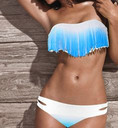Blue and white, fringe bikini.