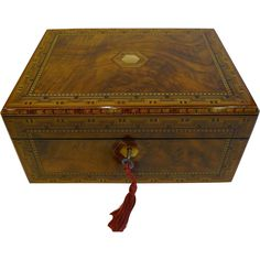 Beautiful Antique English Jewelry Box - Tunbridge Inlaid Walnut c.1860