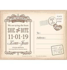 Vintage postcard save the date background vector