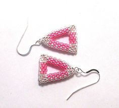 Pink & Silver Triangle Beadwork Earrings Sterling by SleeplessArt, $24.00