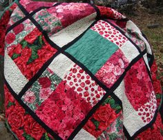 Lap Quilt Roses Carnations Throw Blanket by MaryMackMadeMine, $225.00