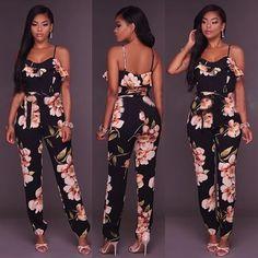 0b6d960382d4 Black Floral Condole Belt Cotton Blend Long Jumpsuit. Fashion WearWomens  FashionFall OutfitsCute ...