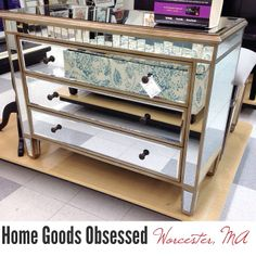 Beau Pretty Mirrored Chest With Cool Details. $279.99 A Steal!!! #homegoods #