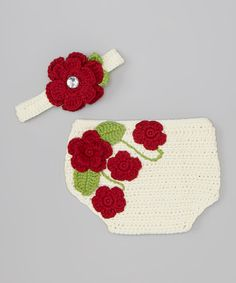 Look what I found on #zulily! Red Rose Crocheted Diaper Cover & Headband - Infant by chéri by Bébé Oh La La #zulilyfinds