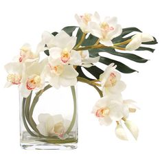 Add an organic touch to your entryway console table or kitchen counter with this lovely faux cymbidium orchid arrangement, nestled in a glass cube vase....