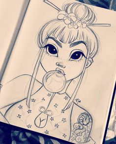 Japanese inspired girl drawing from Christina Lorre Girl Drawing Sketches, Pencil Art Drawings, Cartoon Drawings, Cute Drawings, Drawing Ideas, Sketch Art, Queen Drawing, Girl Drawings, Girl Sketch
