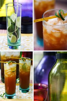 Ginger Pineapple Iced Tea   2 cups fresh pineapple juice 6 cups water 4-6 slices peeled fresh ginger, about 1/8 inch thick 1 cinnamon stick 3 whole cloves 1/2-3/4 cup sugar 6 tea bags, orange pekoe is a good choice For garnish lime quarters crystallized ginger
