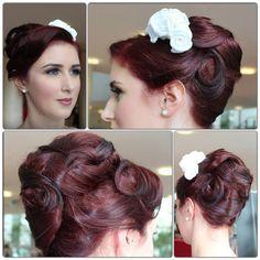 Rockabilly vintage upstyle textured swirls finger waves bridal wedding hair updo madmen