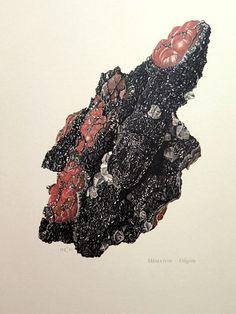 Antik MINERAL HÄMATIT-Gravur, Jahrgang 1967-Fels Hematit Farbe Lithographie, Kristall Fels Stein Eisenoxid PRINT Geologie Mineralogie