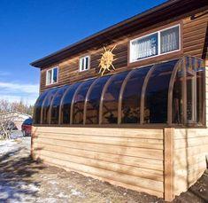 2015 Canmore, Alberta ©Calgary's Best Sunrooms Sunroom Addition, Patio Enclosures, Screened In Porch, Innovation Design, Calgary, Yard, Sunrooms, Outdoor Decor, Tub