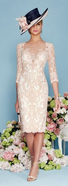 This Light Pink Chiffon Lace Mother of the Bride Dress is fitted and has astonishing detailing throughout. An absolutely stunning embellished dress and matching jacket in Blush/Ivory. You'll get a gorgeous matching frock coat made from chiffon with mid-length sleeves with this mother of the groom dress. || More at http://www.cutedresses.co/product/light-pink-chiffon-lace-mother-bride-dress/