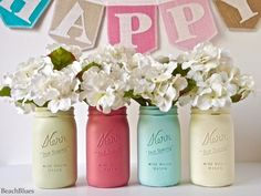 Painted Mason Jars Summer Party Decor Graduation by BeachBlues