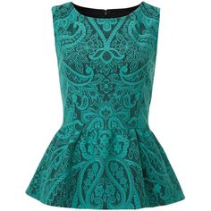Therapy Bonded lace peplum top (1.195 RUB) ❤ liked on Polyvore featuring tops, blouses, shirts, blusas, green, blue shirt, green sleeveless shirt, sleeveless tops, polyester shirt and green blouse