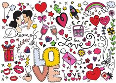 Love Doodle, Hand drawn heart and words love doodle ,vector illustration Love Doodles, Funny Doodles, Doodles Bonitos, Heart Hands Drawing, Art Journal Techniques, Video Games For Kids, Stock Foto, Free Vector Art, Love Words