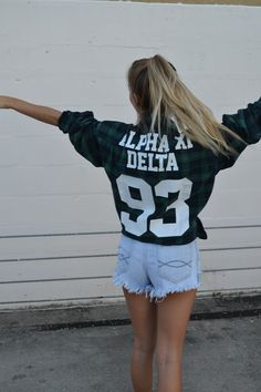 Alpha Xi Delta Flannel #FallStyle #TheSocialLife #AlphaXiDelta #Recruitment