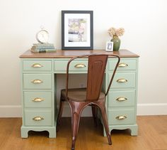 Vintage desk makeover in sage green with shiny gold pulls - by A Green Paintbrush