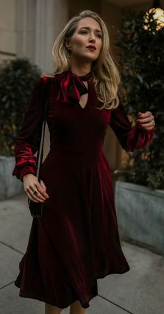 Click for outfit details! // Burgundy velvet a-line dress with tie neck + long peasant sleeves, black leather shoulder bag, gold hoops earrings{Black Halo, YSL, Argento Vivo, off duty style}