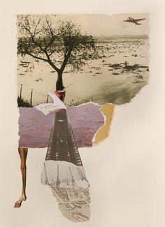 """""""Debajo del cielo de un árbol solitario contaba las horas, mientras aviones creaban los sueños de volver."""" Collage handmade del proyecto """"A la Luna va todo el mundo"""" nataliaromay.com"""