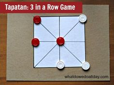 Tapatan is a 3 in a Row Game from the Philippines. Easy to make and fun to play with your kids.