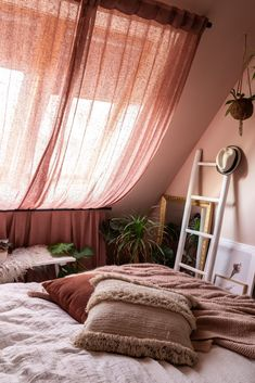 Curtains for a skylight (budget bedroom makeover part Styled by Sabine - Curtains for a skylight (budget bedroom makeover part Styled by Sabine - Budget Bedroom, Home Bedroom, Master Bedroom, Bedroom Decor, Bedrooms, Bohemian Room, Loft Room, Bedroom Paint Colors, Home And Deco