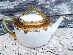 Nippon Beaded Gold Floral Teapot Peach Flowers by Holliezhobbiez
