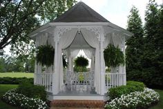 Curtains were just what the gazebo needed Outdoor Rooms, Outdoor Living, Garden Structures, Outdoor Structures, Pergola, Sitting Arrangement, Hot Tub Gazebo, Garden Gazebo, Stone Houses
