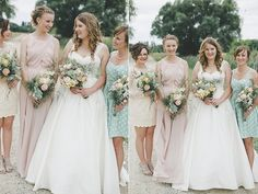 I think is the picture that made me love pastels lol. I love the different colours. The girl on the left in cream has a beautiful dress (could almost be a wedding dress!) and has the lace which is what i'd like you all in but different colours ;)