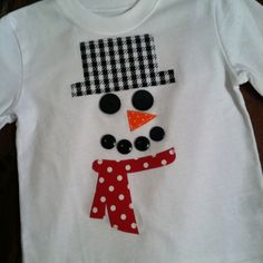 Snowman Christmas appliquéd shirt by Posh Petites Boutique. Christmas Shirts For Kids, Christmas Sewing, Christmas Embroidery, Christmas Pillow, Christmas Baby, Christmas Projects, Handmade Christmas, Christmas Sweaters, Xmas