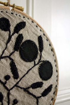 I love...love....love the look of black embroidery on linen