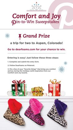 Enter Dearfoams' Comfort and Joy Pin-to-Win Sweepstakes for your chance to win a trip for two to Aspen! Enter at Dearfoams.com. #sweepstakes #comfortandjoy