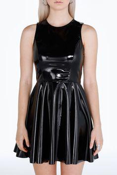 PVC Skater Dress ($120AUD) by BlackMilk Clothing