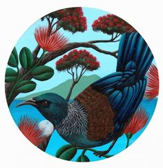Tui Round Pohutukawa by Anna Evans - Art Prints New Zealand Art Maori, Tui Bird, Maori Patterns, Bird Coloring Pages, Colouring, Evans Art, Decoupage, Maori Designs, New Zealand Art