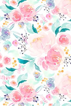 Mermaid Floral by indybloomdesign - Hand painted watercolor flowers in shades of pink and green on fabric, wallpaper, and gift wrap. Colorful floral pattern in pastels by indie designer indybloomdesign. #floral #handpainted #flowers #watercolor #design