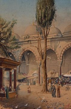 A souq (marketplace) in medieval Arab world.  Beautiful!
