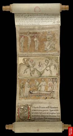 A medieval scroll showing a soul being carried to heaven by angels, Egerton 2849, c. 1220 - 1230.
