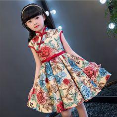 NEW 2017 Children Style Children Girls Qipao Summer Dress Luxury Printed Flowers Kids birthday Party Cheongsam Dress For Cheongsam Dress, Girls Dresses, Summer Dresses, Africa Fashion, Children Style, Sewing For Kids, Kids Fashion, Women's Fashion, Clothing Patterns