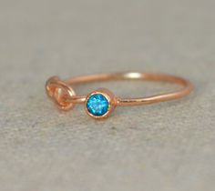Rose Gold Filled Infinity #ring CZ Blue Zircon December's Mother's/Birthstone…