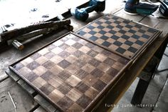 DIY Coffee table- love doing a checkerboard to redo table...would be great to teach boys chess/checkers