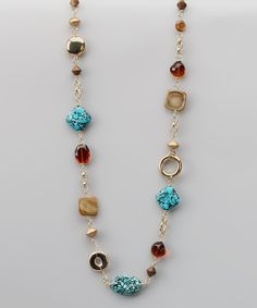 Turquoise & Gold Bead Necklace  Good way to give those orphan beads a good home!