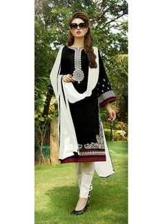 Beautiful Black And White Cotton Salwar Suit