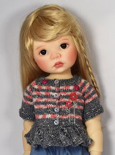 Gray and Red Sweater for Saffi by Meadowdolls Maggie & Kate Create