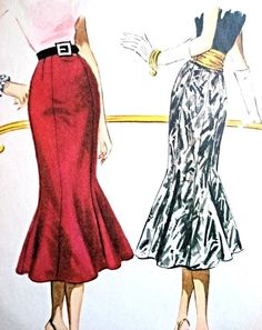 1950s Beautiful Slim Skirt Pattern McCalls 3675 Eye Catching Day or Evening Trumpet Flared Skirt and Cummerbund Striking Design Vintage Sewing Pattern Waist 28 FACTORY FOLDED