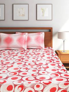 Buy WELHOME Unwinders White & Red Cotton Double Bedsheet With 2 Pillow Covers - Bedsheets for Unisex | Myntra