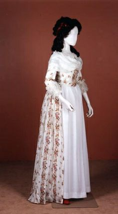 I don't describe a dress like this in The Pursuit of Tamsen Littlejohn, but Tamsen certainly might have worn a gown like this, and she would have had her hair styled like this. I keep looking at this manikin expecting it to come to life, it's so very Tamsen-like.