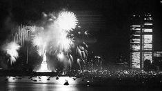Fireworks at the Statue of Liberty light up the New York Harbor on July 4, 1976, as the country celebrates the bicentennial anniversary of the Declaration of Independence. Patriotic events took place around the country that year.