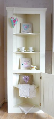 Delightful shabby chic corner unit hand painted by Hollyblues & Quirkybirds in Farrow & Ball Paint. Find us here https://www.facebook.com/hollybluesandquirkybirds I also sell country chic inspired accessories here... https://folksy.com/shops/QuirkyBird