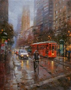 Po Pin Lin - San Francisco. Street Painting, City Painting, Buddha Garden, Urban Painting, Rain Art, Wet And Wild, The Lost World, Singing In The Rain, Building Art