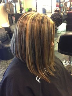 Blonde and brown highlights inverted long bob