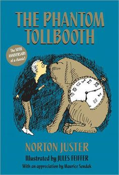 The Phantom Tollbooth, Norton Juster -- Milo is knocked out of his glum humdrum by the sudden and curious appearance of a tollbooth in his bedroom. Since he has absolutely nothing better to do, he dusts off his toy car, pays the toll, and drives through. What ensues is a word-bending journey of mythic proportions, during which Milo encounters countless odd characters who are anything but dull.